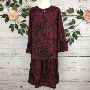 LOFT Size M Maroon Long Bell Sleeve Floral Dress